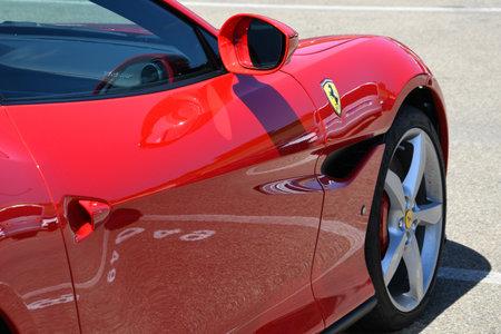 Mugello Circuit IT July 2021: Detail of Ferrari Portofino on display in the paddock of the Mugello Circuit, Italy. Sajtókép