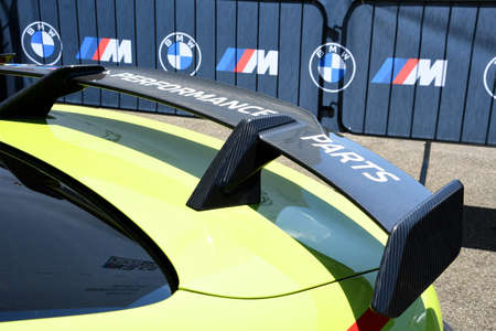 Mugello Circuit, IT, July 2021: Detail of Carbon fiber rear wing of the Safety Car BMW M4 Competition Coup in the paddock of the Mugello Circuit, Italy. Sajtókép