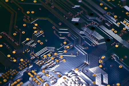 close-up of electronic components, electronic board.