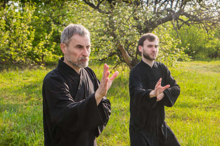 master and disciple of Taijiquan practice gymnastics in a park Stock fotó