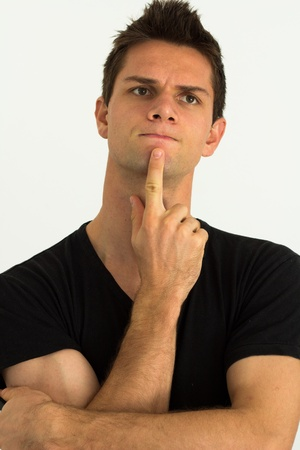 Man thinking with hand on face Stock Photo - 11107441