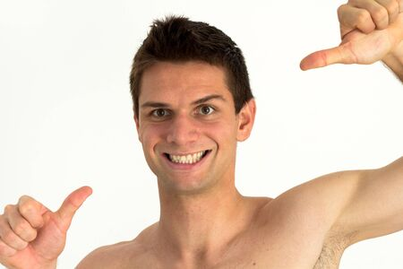 Young man smiling and pointing at himself with success Stock Photo - 11261715