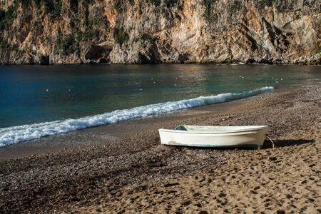 An Old White Boat On The Beach Plage Mala In Cap d Ail photo