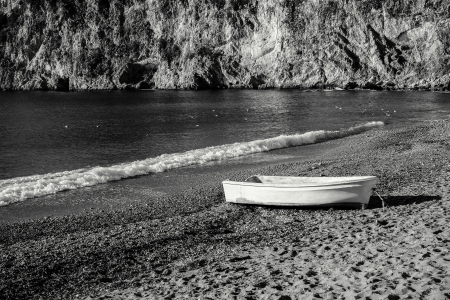 An Old White Boat On The Beach Plage Mala In Cap d photo