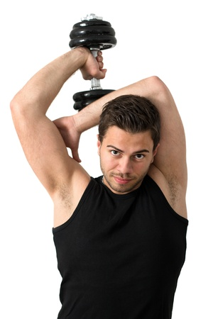 Young attractive man pumping weights in a black tank top Stock Photo - 14158747