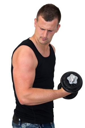 Young attractive man pumping weights in a black tank top Stock Photo - 14748987