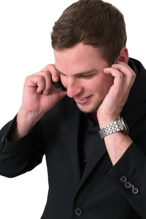 Young Man in jacket talking on the phone and smiling Stock Photo - 14749646