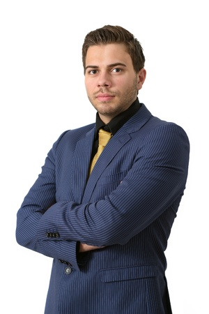 sternly: A young strict businessman in a Blue suit with a golden tie
