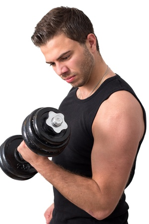 Young attractive man pumping weights in a black tank top