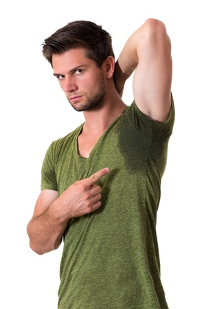 hyperhidrosis: Man with Hyperhidrosis sweating very badly under armpit