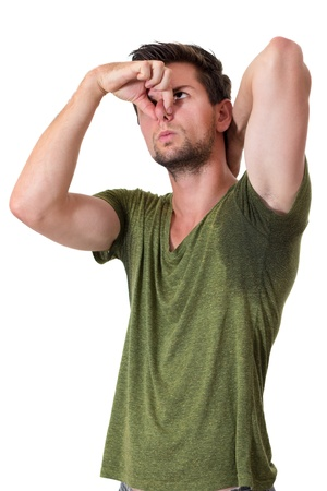 wet men: Man with Hyperhidrosis sweating very badly under armpit