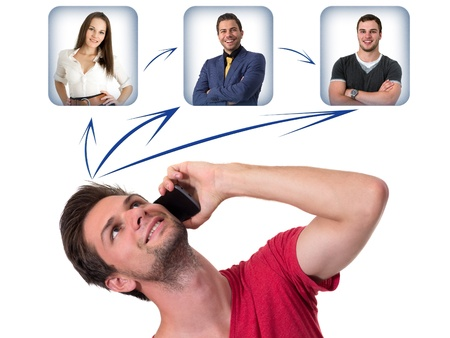 Young Man talking on the phone and networking with friends Stock Photo - 14750941