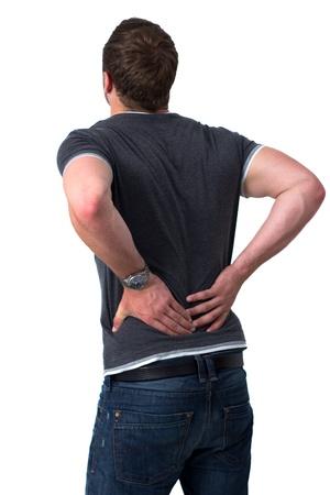 dolor de espalda: Joven celebraci�n de su espalda en el dolor