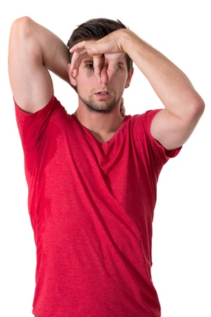 Man with Hyperhidrosis sweating very badly under armpit photo