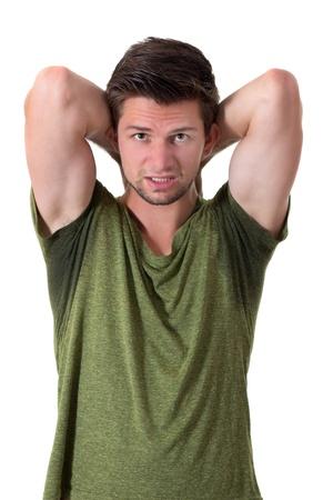 sudoracion: Hombre con hiperhidrosis sudor muy mal debajo de la axila