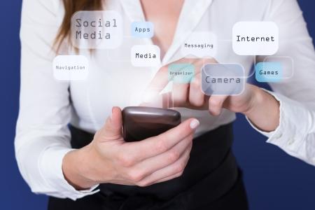 Woman touching touchscreen of Smartphone photo