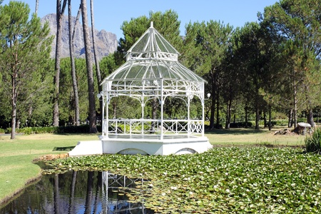Pavilion at the Boschendal Wine Estate with water in the forefront photo
