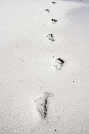 Footsteps in the sand at Kommetjie Beach in Cape Town, South Africa photo