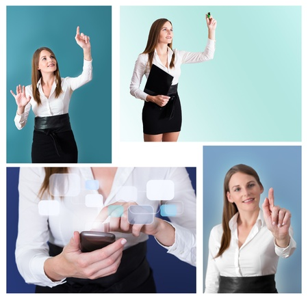 Collage of Futuristic Businesswoman with four different Pictures photo