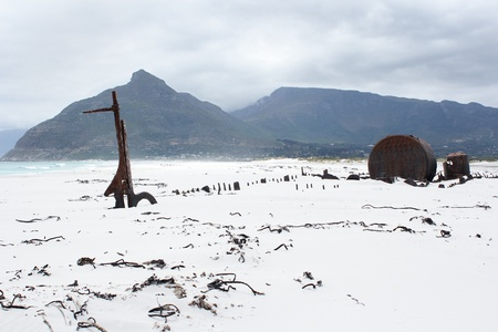 Shipwreck Kakapo at the beach of kommetjie with upcoming storm in the background photo