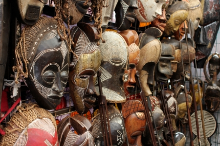 Many African Masks Stock Photo