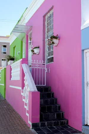 Pink and Green House front in Bo-Kaap, Cape Town, South Africa