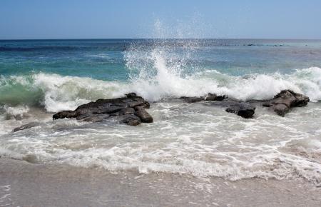 mare agitato: Onde andando oltre le scogliere nell'Oceano Atlantico a Kommetjie Beach, Citt� del Capo, Sud Africa