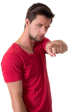 Man in red t-shirt pointing at camera photo