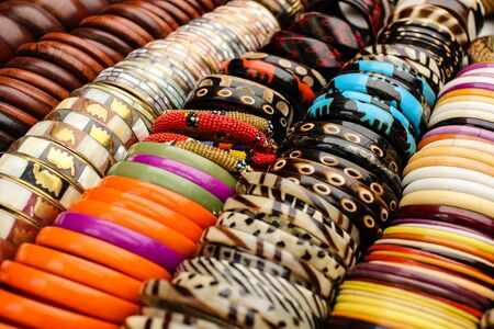 Many colorful braclets at african market