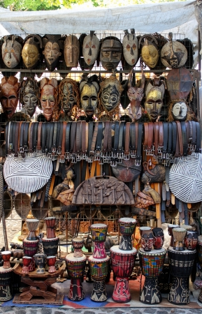 african drums: Shop at Greenmarket Square in Cape Town, South Africa Stock Photo
