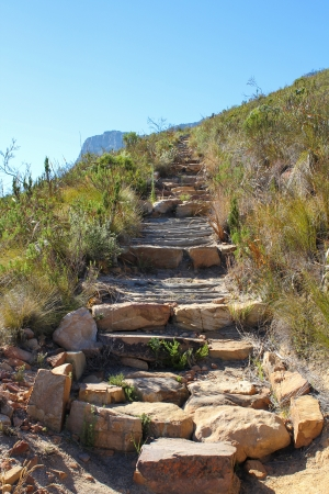 rough road: Hiking Path on table Mountain,, Cape Town South Africa