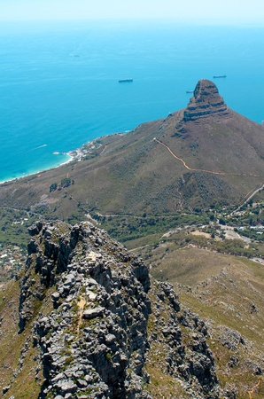 robben island: Image of lions head taken from table mountain in cape town, south africa