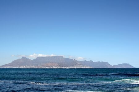 robben island: View of Cape Town, South Africa from Robben Island