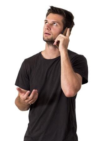 Young Man talking on the phone and smiling Stock Photo - 15518260