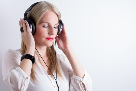 Image of Woman Listening To Music With Headphones Stock Photo - 15403253