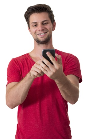 Young White Man In Red T-Shirt Working On His Smartphone photo