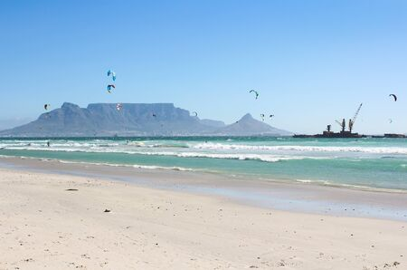 cape town: Kiteboarders at Milnerton Beach in Cape Town, South Africa