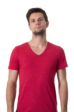 Young man in red t-shirt Stock Photo - 15436516