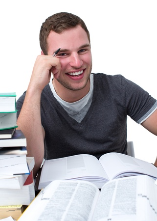 good attitude: Guy with natural smile havin fun while studying for university Stock Photo