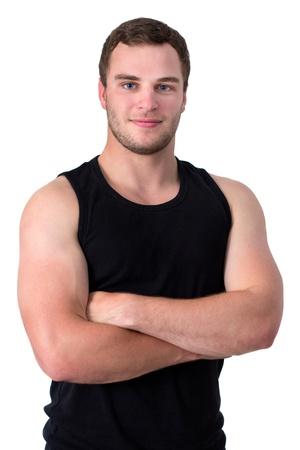 탱크 탑: 검은 탱크 젊은 스포츠 사람 위에 카메라에 미소