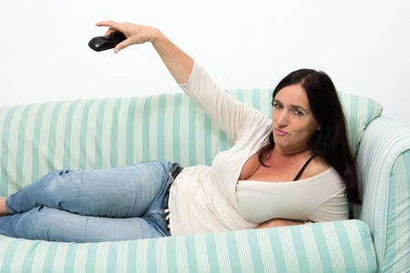 Black Haired Woman making expression on phone photo