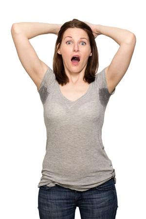 transpiration: Femme transpiration tr�s mal sous l'aisselle