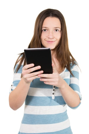Picture of a woman using a tablet pc from the front photo