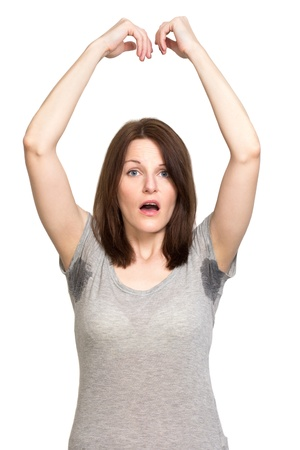 armpit: Mujer reblandece muy gravemente bajo el axila