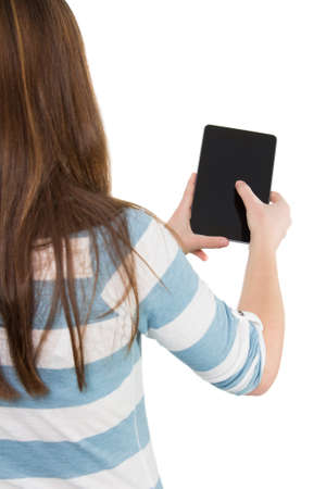 woman from behind: Picture of a woman using a tablet pc from behind