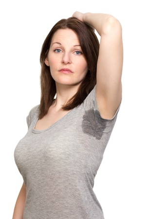 armpit hair: Woman sweating very badly under armpit