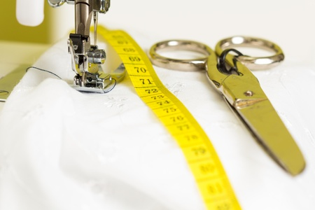tailor measure: Necessary sewing accessories Stock Photo