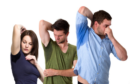 Composite of sweating people photo