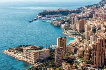 Monte Carlo top View with blue sky and water