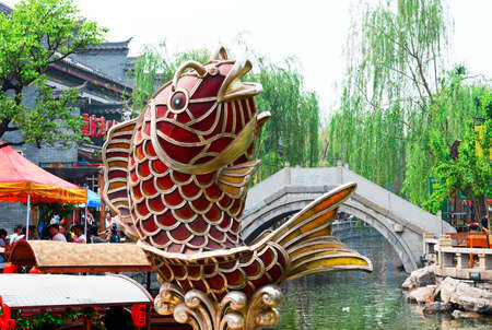 Carp sculpture in the ancient town 報道画像